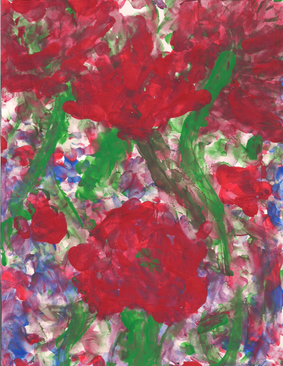 Finger painting of four large, red flowers with green stems. There are multiple clusters of red, blue, and purple small flowers behind the larger flowers.